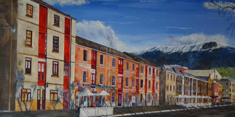 (CreativeWork) Early Morning Salamanca Place by Christopher Johnston. Acrylic Paint. Shop online at Bluethumb.