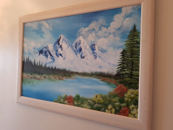 (CreativeWork) Mountain high by Michelle Pope. Acrylic Paint. Shop online at Bluethumb.