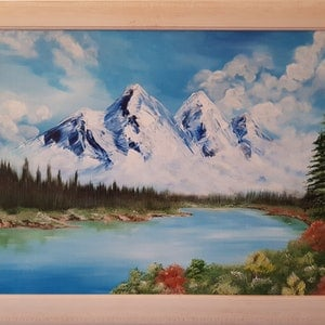 (CreativeWork) Mountain high by Michelle Baumann. arcylic-painting. Shop online at Bluethumb.