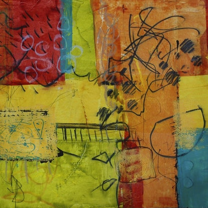 (CreativeWork) Topography by Karen Hammat. Mixed Media. Shop online at Bluethumb.