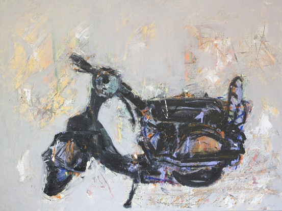 (CreativeWork) Moped by andrew neilan (naylan). Acrylic Paint. Shop online at Bluethumb.