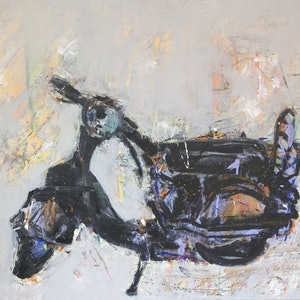 (CreativeWork) Moped by a naylan. arcylic-painting. Shop online at Bluethumb.