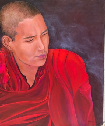(CreativeWork)  Young Tibetan  monk by Barbara Hardy. Acrylic Paint. Shop online at Bluethumb.