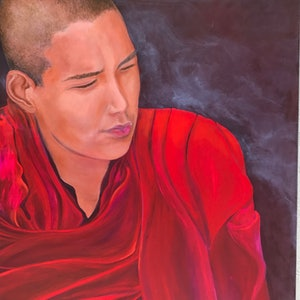 (CreativeWork)  Young Tibetan  monk by Barbara Hardy. arcylic-painting. Shop online at Bluethumb.
