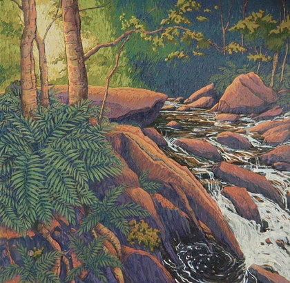 (CreativeWork) Tahune Creek by Mac Monks. arcylic-painting. Shop online at Bluethumb.