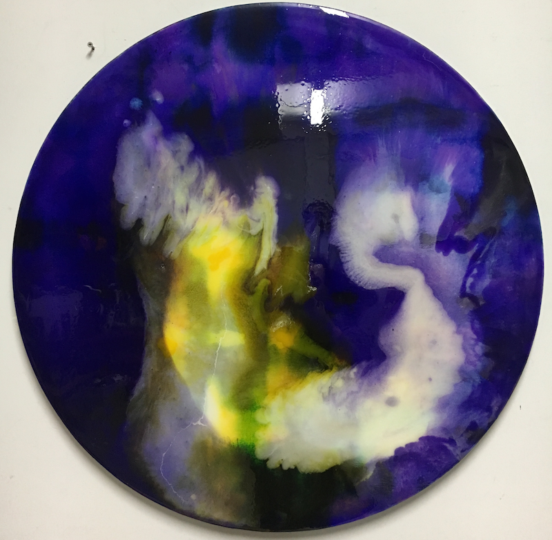 (CreativeWork) Modern Contemporary Design Resin Round 'Opposites Attract' by Liliana Profus. Resin. Shop online at Bluethumb.