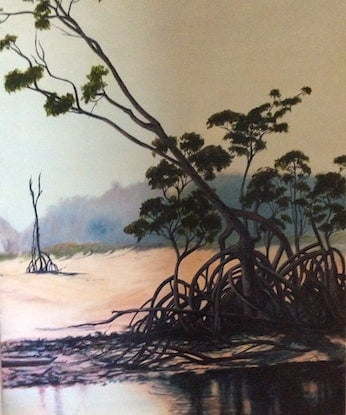 (CreativeWork) Jardine River covered in smoke by Barbara Hardy. Acrylic Paint. Shop online at Bluethumb.