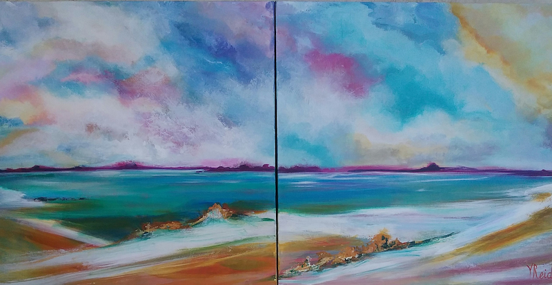 (CreativeWork) Seascape Diptych by Vicki Reid. Acrylic Paint. Shop online at Bluethumb.