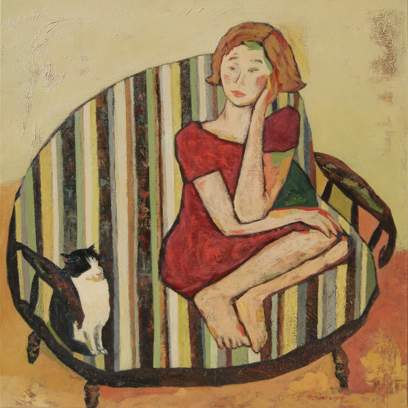 (CreativeWork) Girl in striped armchair by Tetyana Khytko. Oil Paint. Shop online at Bluethumb.