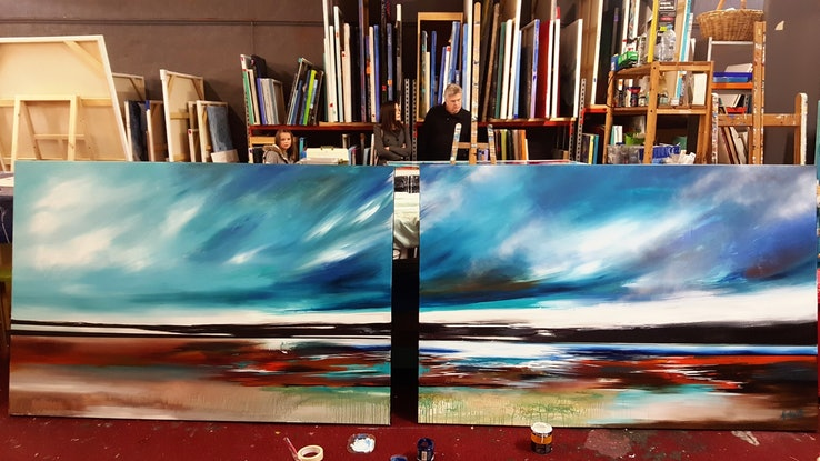 (CreativeWork) Serendipity (very large canvas diptych 405cm x 156cm)  by Alice Howell. Oil Paint. Shop online at Bluethumb.