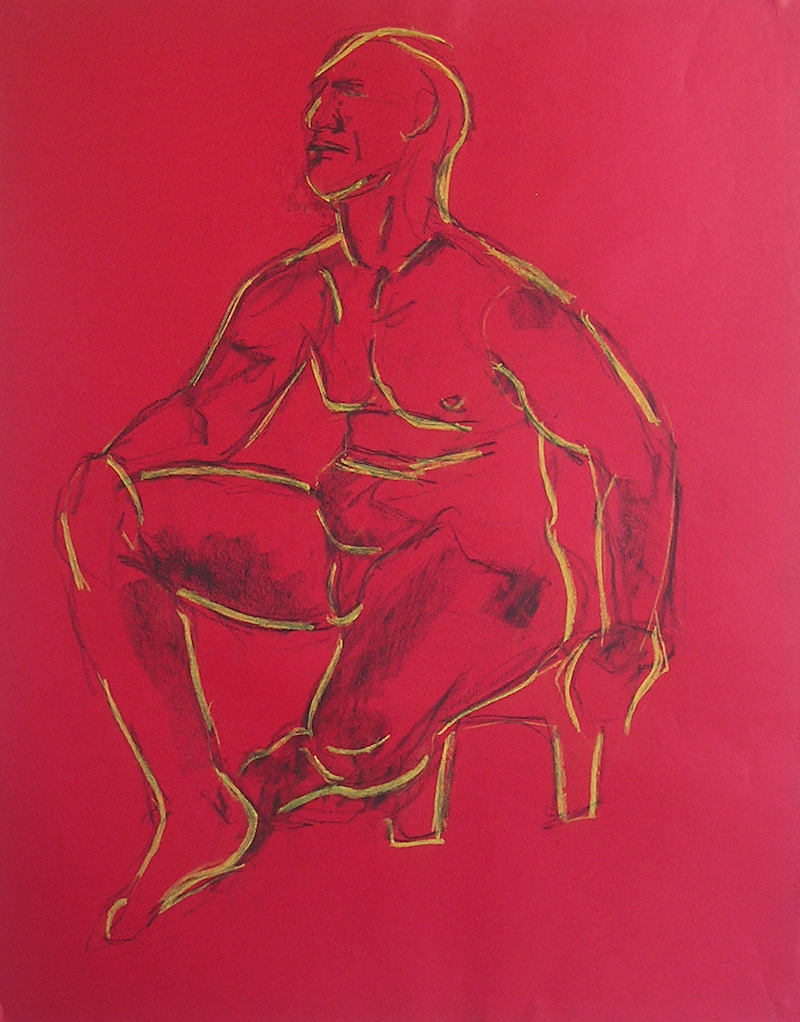 (CreativeWork) Life Drawing - Strong Man - Sitting - In Yellow & Black by Ishbel Morag Miller. drawing. Shop online at Bluethumb.