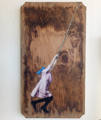 (CreativeWork) 'Rope of Hope' (pink) by Camo Streetart. Acrylic Paint. Shop online at Bluethumb.