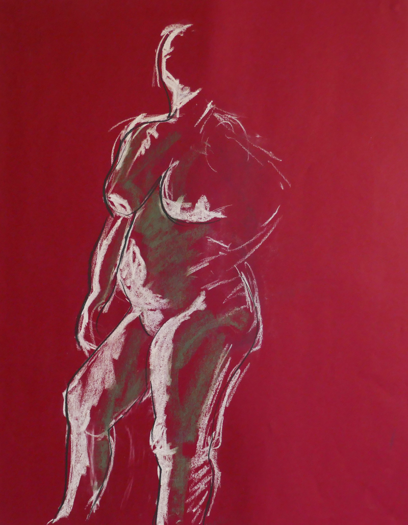 (CreativeWork) Life Drawing - Standing Woman - Green & White by Ishbel Morag Miller. Drawings. Shop online at Bluethumb.