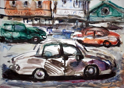 (CreativeWork) Paddington rush hour by tomas maceiras. watercolour. Shop online at Bluethumb.