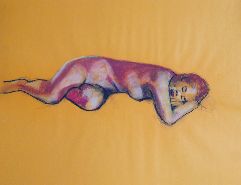 (CreativeWork) Life Drawing - Lady Lying Down - On Yellow Background by Ishbel Morag Miller. Drawings. Shop online at Bluethumb.