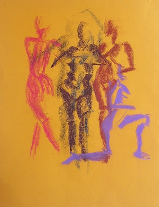 (CreativeWork) Life Drawing - Quick Sketches - Violet, Brown & Pink by Ishbel Morag Miller. Drawings. Shop online at Bluethumb.