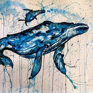(CreativeWork) #Whale #Calf 2.0 by Leith Kennedy. mixed-media. Shop online at Bluethumb.