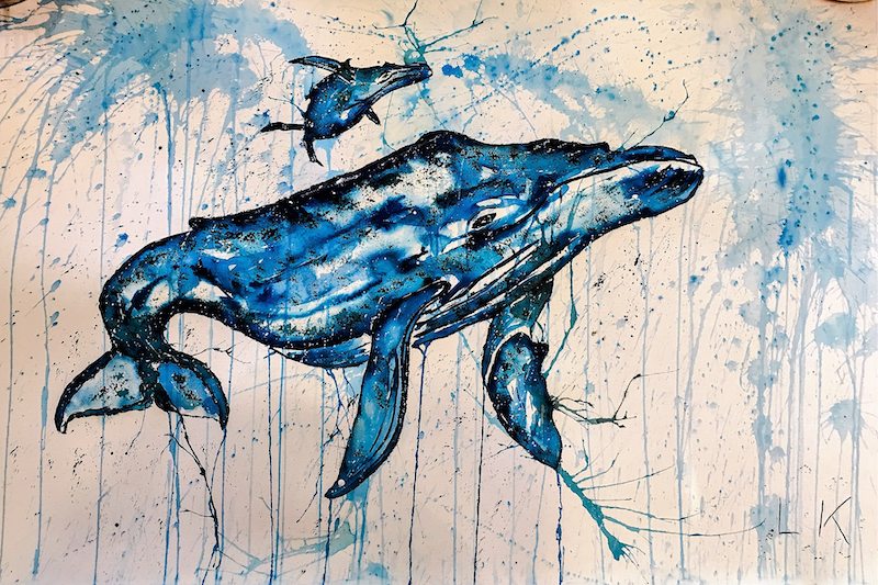(CreativeWork) #Whale #Calf 2.0 by Leith Kennedy. Mixed Media. Shop online at Bluethumb.