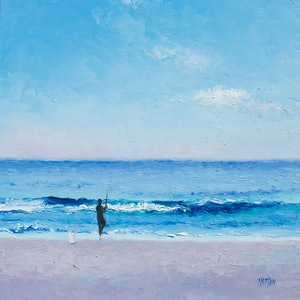 (CreativeWork) Surf Fishing by Jan Matson. oil-painting. Shop online at Bluethumb.
