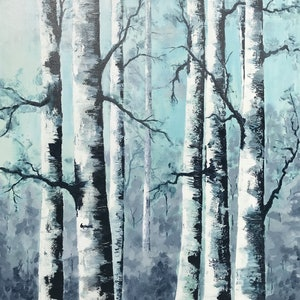 (CreativeWork) birch by Tom Roso. arcylic-painting. Shop online at Bluethumb.
