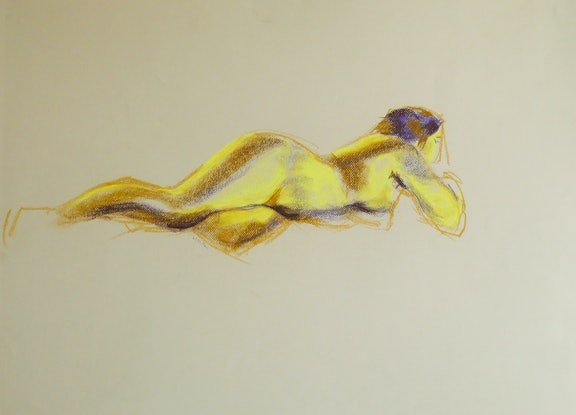 (CreativeWork) Life Drawing - Lying Woman In Lemon Yellow by Ishbel Morag Miller. Drawings. Shop online at Bluethumb.