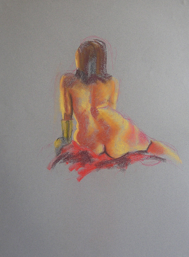(CreativeWork) Life Drawing - Back Of Woman Sitting, On Red by Ishbel Morag Miller. Drawings. Shop online at Bluethumb.