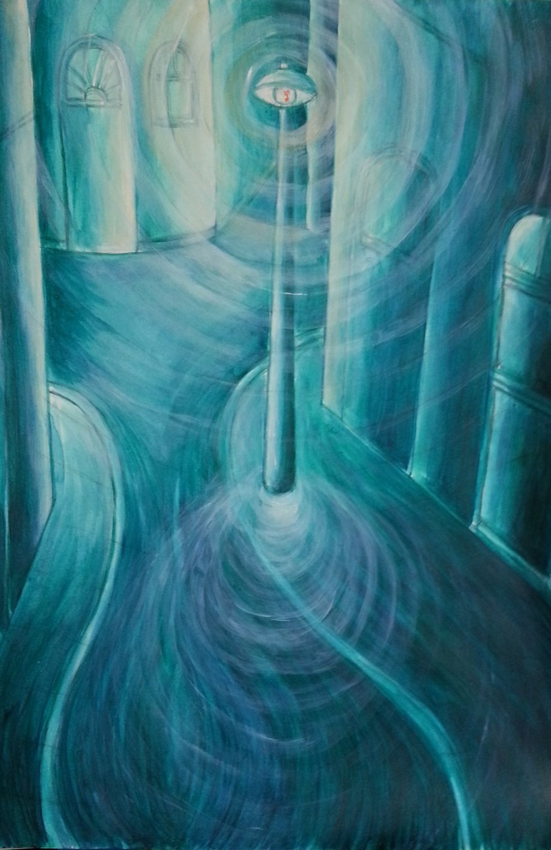 (CreativeWork) Refractions in green by Natalie Cartwright. Acrylic Paint. Shop online at Bluethumb.