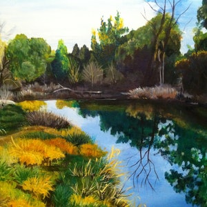 (CreativeWork) Tranquil by Kathy Nolan. arcylic-painting. Shop online at Bluethumb.