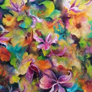 (CreativeWork) Bliss by Cathy Gilday. arcylic-painting. Shop online at Bluethumb.