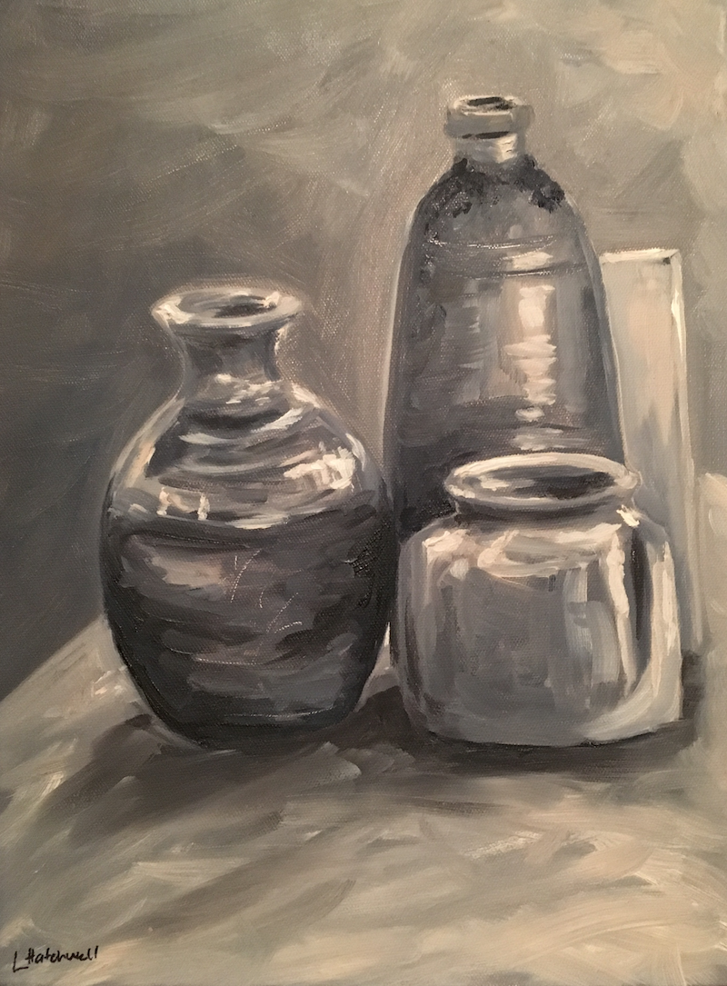 (CreativeWork) Study in Grey by Lyndsey Hatchwell. oil-painting. Shop online at Bluethumb.