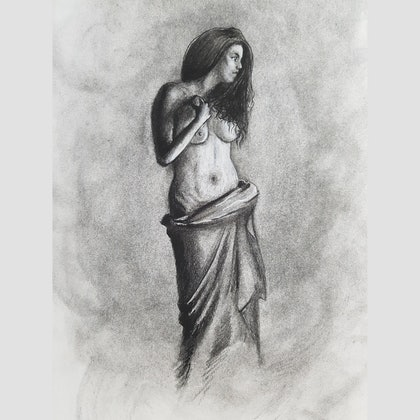(CreativeWork) Girl in charcoal figure study 2 by Brett Mengler. drawing. Shop online at Bluethumb.