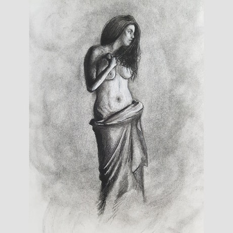 (CreativeWork) Girl in charcoal figure study 2 by Brett Mengler. Drawings. Shop online at Bluethumb.