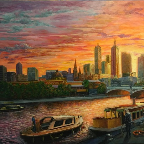 (CreativeWork) Early Start on the Yarra by Cheng Huat Lee. Acrylic Paint. Shop online at Bluethumb.