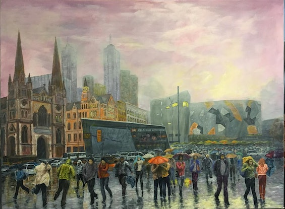 (CreativeWork) Wet Day Federation Square by Cheng Huat Lee. Acrylic Paint. Shop online at Bluethumb.