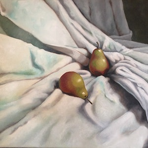 (CreativeWork) Pears on linen by Roxanne Raschella. oil-painting. Shop online at Bluethumb.