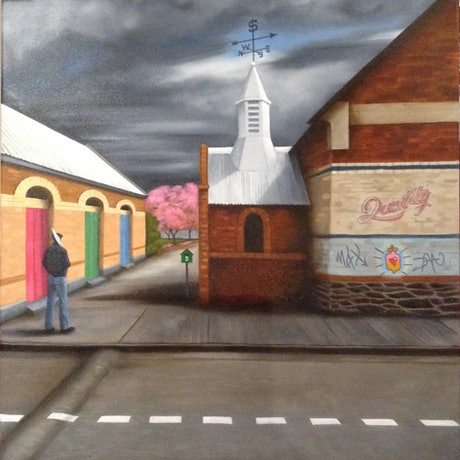 (CreativeWork) 3 Mile End by Barbara Harkness. Oil Paint. Shop online at Bluethumb.