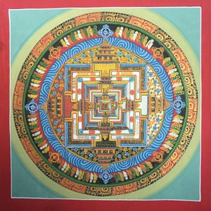 (CreativeWork) Original Tibetan Chinese Kalachakra Chakra Mandala Thangka Gold leaf Painting Meditation Buddha  by SARAD LAMA. watercolour. Shop online at Bluethumb.