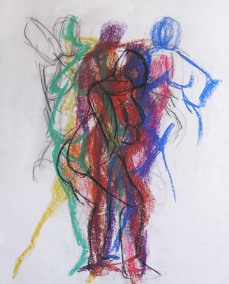 (CreativeWork) Life Drawing - Quick Sketches - Overlaid Colour by Ishbel Morag Miller. Drawings. Shop online at Bluethumb.