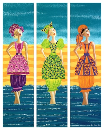 (CreativeWork) Beach Bloomers Triptych by Lisa Frances Judd. Acrylic Paint. Shop online at Bluethumb.