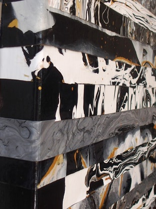 (CreativeWork) Rift. Black and white contemporary abstract by Julee Latimer. Acrylic Paint. Shop online at Bluethumb.