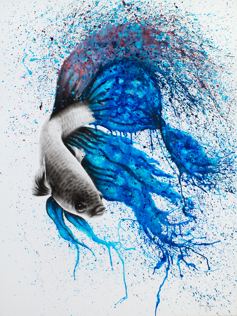 (CreativeWork) Dancing Gourami by Ashvin Harrison. Acrylic Paint. Shop online at Bluethumb.