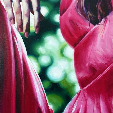"(CreativeWork) ""Red Right Hand"" by David Clare. Oil Paint. Shop online at Bluethumb."