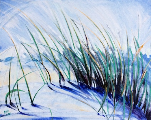 "(CreativeWork) ""Beach Grass 1"" by David Clare. Oil Paint. Shop online at Bluethumb."
