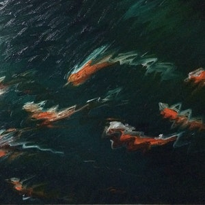 "(CreativeWork) ""Gold Fish Ripples"" by David Clare. oil-painting. Shop online at Bluethumb."