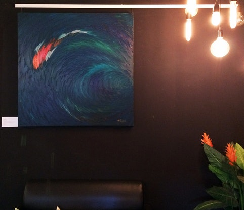 """(CreativeWork) """"Koi"""" by David Clare. Oil Paint. Shop online at Bluethumb."""