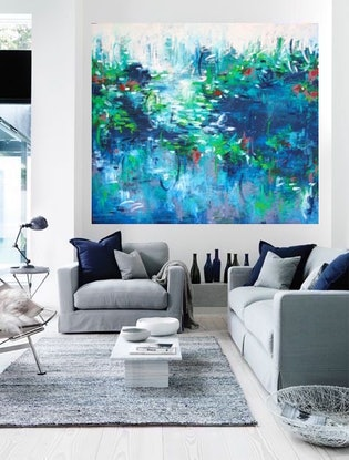 (CreativeWork) ÉTANG - HUGE OVERSIZED PAINTING  - ready to hang by Belinda Nadwie. Oil Paint. Shop online at Bluethumb.