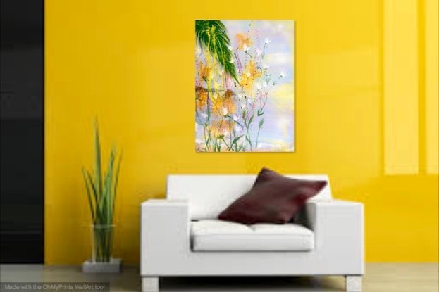(CreativeWork) Sunburst (over Keppel) 60x75x1 by Louise Croese. Acrylic Paint. Shop online at Bluethumb.