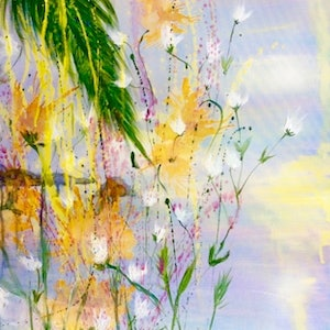 (CreativeWork) Sunburst (over Keppel) 60x75x1 by Louise Croese. arcylic-painting. Shop online at Bluethumb.