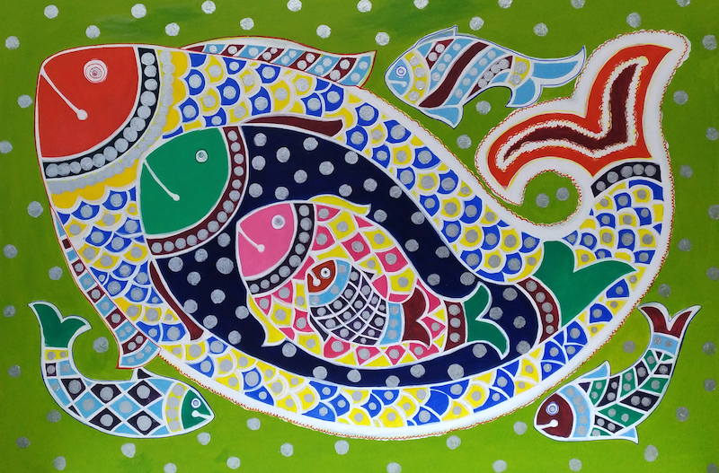 (CreativeWork) Fishes by Mansi Gawri. arcylic-painting. Shop online at Bluethumb.