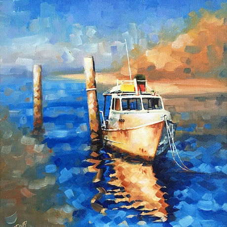 (CreativeWork) Tide And Tired At High Tide by David Clare. Oil Paint. Shop online at Bluethumb.